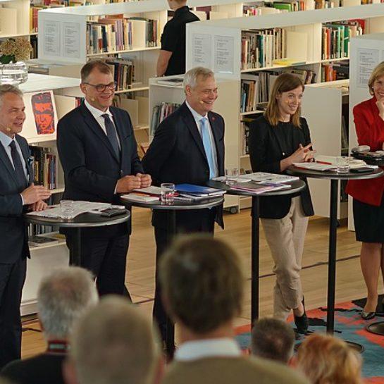 Pekka Haavisto, Juha Sipilä, Antti Rinne, Li Andersson ja Anna-Maja Henriksson.