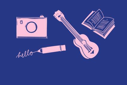 Kuvituskuva, jossa kamera, kynä, kitara ja avoin kirja.