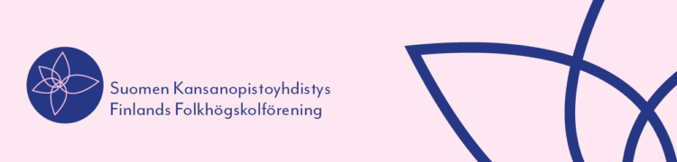 Suomen Kansanopistoyhdistyksen logo ja graafinen lehtikuvio.